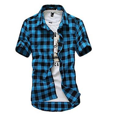 economico Abbigliamento uomo-Camicia Per uomo Spiaggia Casual A quadri Colletto classico - Cotone Rosso US38 / Manica corta / Estate / Taglia piccola