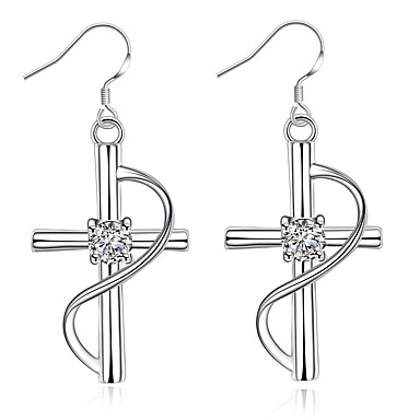 Жен. Синтетический алмаз Серьги-слезки - Серебрянное покрытие Крест Euramerican Назначение Повседневные