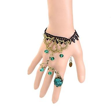 Kadın's Zincir & Halka Bileklikler Moda Dantel Heart Shape Crown Shape Yeşil Mücevher Için Parti Özel Anlar Doğumgünü Nişan 1pc