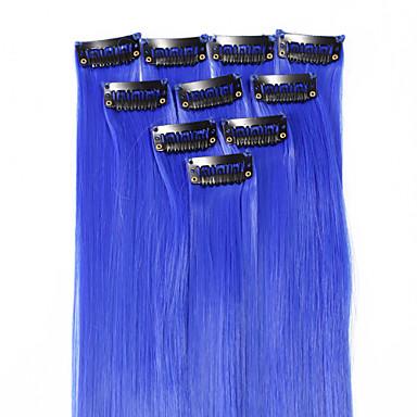 neitsi 10st 18inch gekleurd hoogtepunt synthetische clip op in hair extensions # f10 blue