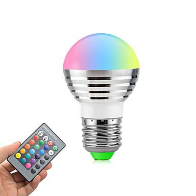 3W 270lm E26 / E27 Żarówki LED kulki Obrotowa 1 Koraliki LED High Power LED Przysłonięcia Zdalnie sterowana RGB 85-265V