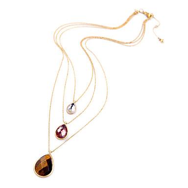 Kadın's katmanlı Kolyeler Damla Eşsiz Tasarım Moda Euramerican Gökküşağı Mücevher Için Düğün 1pc