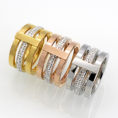 Męskie Damskie Band Ring Cyrkonia Gold Silver Rose Cyrkonia Stal tytanowa Złoto 18K Zaokrąglanie Geometric Shape Spersonalizowane