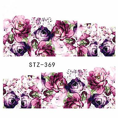 10pcs/set Su Transfer Etiketi / Çivi Çıkartması Tırnak Baskılı Şablonu Tırnak Tasarımı Tasarımı Çiçek / Nail Decals