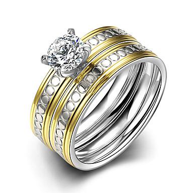 Kadın's Yüzük Nişan yüzüğü Evlilik Yüzükleri minimalist tarzı Gelin Moda Titanyum Çelik Yuvarlak Mücevher Yılbaşı Hediyeleri Düğün Parti