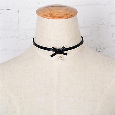 Damskie Obsydian Imitacja pereł Skórzany Naszyjniki choker - Imitacja pereł Skórzany Wiszący euroamerykańskiej Modny Imitacja pereł