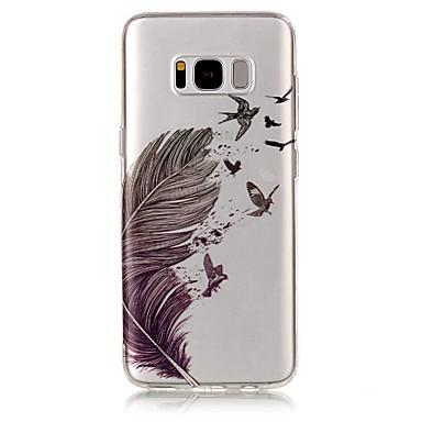 Недорогие Чехлы и кейсы для Galaxy S6-Кейс для Назначение SSamsung Galaxy S8 Plus / S8 / S7 edge IMD / Прозрачный / С узором Кейс на заднюю панель Перья Мягкий ТПУ