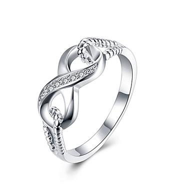 للمرأة خاتم مكعب زركونيا فضي زركون نحاس تصفيح بطلاء الفضة Geometric Shape مخصص تصميم دائري تصميم فريد قديم حجر الراين أساسي دائرة