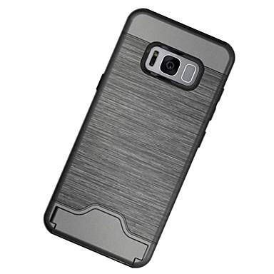 Pouzdro Uyumluluk Samsung Galaxy S8 Plus S8 Kart Tutucu Şoka Dayanıklı Satandlı Arka Kapak Tek Renk Sert PC için S8 Plus S8