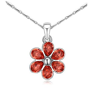 Damskie Naszyjniki z wisiorkami Kryształ Flower Shape Kwiatowy Kwiat Kwiaty Modny euroamerykańskiej Biżuteria Na Ślub Impreza Urodziny