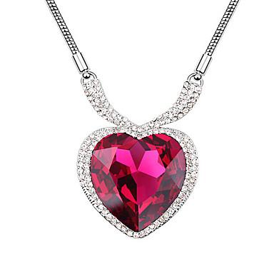 Kadın's Uçlu Kolyeler Kristal Aşk Kalp Moda Kişiselleştirilmiş Mücevher Uyumluluk Düğün Parti Doğumgünü