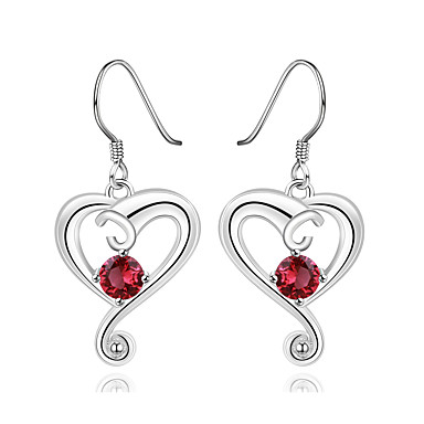 Damskie Dla dziewczynek Kolczyki zwisają Kryształ Serce Posrebrzany Heart Shape Biżuteria Na Ślub Impreza Codzienny Casual