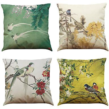 zestaw 4 chińskich stylu retro wzór wzór lnianej poduszki okładka biuro domowe kanapę kwadratową poduszkę (18