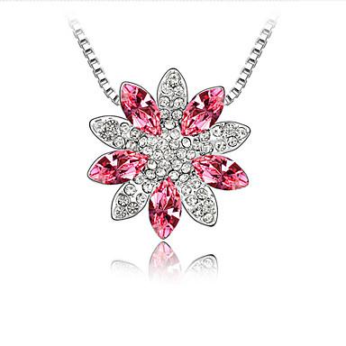 Naisten Riipus-kaulakorut Kristalli Flower Shape Yksilöllinen Kukka-aihe Kukka Kukkaset Euramerican Korut Käyttötarkoitus Häät Party