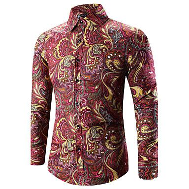 billige Herrers Mode Beklædning-Klassisk krave Tynd Herre - Paisley Bomuld, Trykt mønster Vintage / Boheme Plusstørrelser Skjorte Guld XXXL / Langærmet / Forår / Efterår