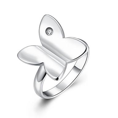 Kadın's Yüzük Kübik Zirconia Gümüş Zirkon Bakır Gümüş Kaplama Bowknot Shape Kişiselleştirilmiş Wzór geometryczny Eşsiz Tasarım Vintage
