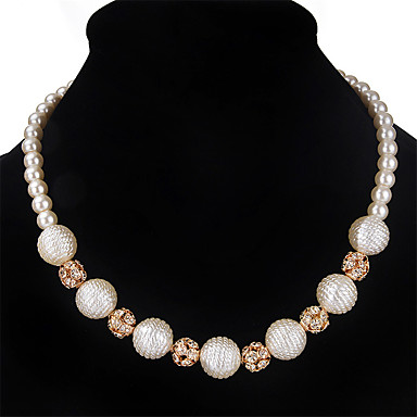 Damskie Inne Rhinestone Pearl imitacja Imitacja pereł Kryształ górski Naszyjnik z pasemkami  -  Spersonalizowane euroamerykańskiej Modny