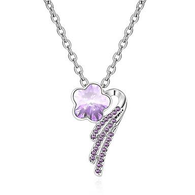 Kadın's Uçlu Kolyeler Kristal Flower Shape Kişiselleştirilmiş Çiçek Çiçek Stili Çiçekler Euramerican minimalist tarzı Mücevher Uyumluluk