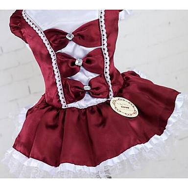 Σκύλος Φορέματα Ρούχα για σκύλους Χαριτωμένο Καθημερινά Μοντέρνα Πριγκίπισσα Σκούρο μπλε Κόκκινο Σκούρο κόκκινο Στολές Για κατοικίδια