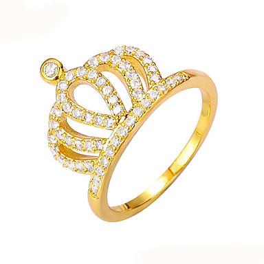 Γυναικεία Δαχτυλίδι Band Ring Χρυσό Χαλκός Circle Shape Crown Shape Βίντατζ Τεχνητό διαμάντι Μοντέρνα Γάμου Πάρτι Αρραβώνας Δώρο