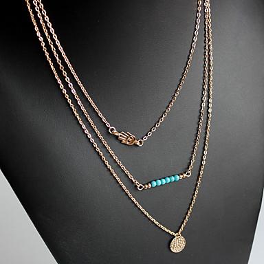 Kadın's katmanlı Kolyeler Mücevher Mücevher Değerli Taş Reçine alaşım Doğa Kişiselleştirilmiş Euramerican Altın Mücevher Için Parti Günlük