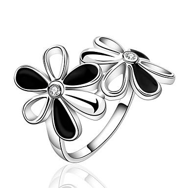 Γυναικεία Δαχτυλίδι Cubic Zirconia Ασημί Ζιρκονίτης Χαλκός Επάργυρο Λουλούδι Εξατομικευόμενο Geometric Μοναδικό Βίντατζ Τεχνητό διαμάντι