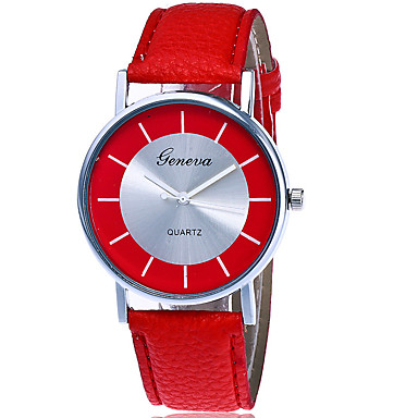 Damskie Modny Zegarek na nadgarstek Kwarcowy Skóra Pasmo Nowoczesne Na co dzień Kreatywne Czarny Biały Czerwony White Black Czerwony