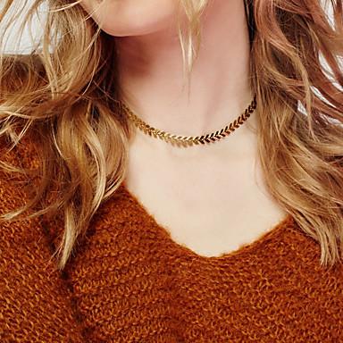 Damskie Pojedynczy Strand Leaf Shape Kształt Unikalny Modny Naszyjniki choker Biżuteria Stop Naszyjniki choker Prezenty bożonarodzeniowe