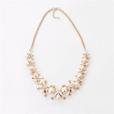 Damskie Oświadczenie Naszyjniki Pearl imitacja Geometric Shape Imitacja pereł Kryształ górski Stop Sexy Korygujący Osobiste Gold Biżuteria