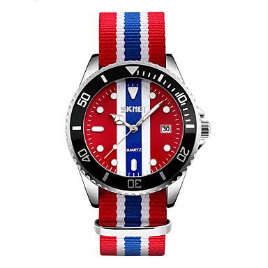 זול שעוני גברים-SKMEI בגדי ריקוד גברים שעוני אופנה שעון יד Japanese קווארץ 30 m עמיד במים לוח שנה מגניב בד להקה אנלוגי צבעוני - אדום כחול ורוד