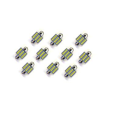 10kpl 31mm 12 * 2835 SMD LED auton lampun valkoisen valon DC12V
