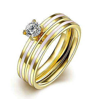 Pentru femei Inel Inel de logodna Verighete stil minimalist de Mireasă Modă Oțel titan Rotund Bijuterii Cadouri de Crăciun Nuntă