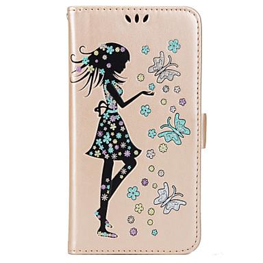 Kılıf Na Samsung Galaxy J7 (2016) J5 (2016) Etui na karty Portfel Z podpórką Flip Magnetyczne Wzór Pełne etui Motyl Seksowna dziewczyna