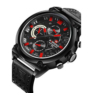 NAVIFORCE Bărbați Quartz Ceas de Mână Ceas Sport Calendar Zone Duale de Timp  PU Bandă Lux Casual Modă Cool Negru Maro