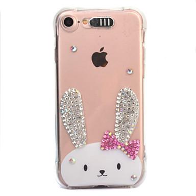Voor apple iphone 7 7 plus 6s 6 plus case cover konijn patroon diamant druppel komt met call flash tpu materiaal telefoon hoesje
