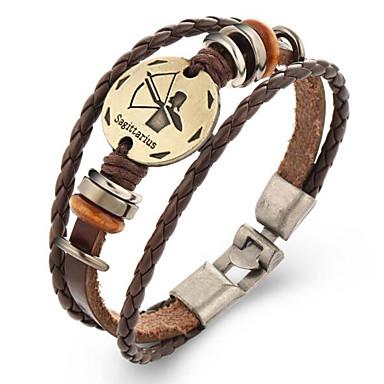 Heren Dames Lederen armbanden Vintage Leder Geometrische vorm Sieraden Lahja Kostuum juwelen Bruin
