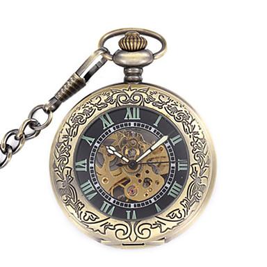 Χαμηλού Κόστους Ανδρικά ρολόγια-Ανδρικά Διάφανο Ρολόι Ρολόι Τσέπης μηχανικό ρολόι Χαλαζίας Μηχανικό κούρδισμα Ανοξείδωτο Ατσάλι Μπρονζέ Αναλογικό Steampunk - Μαύρο