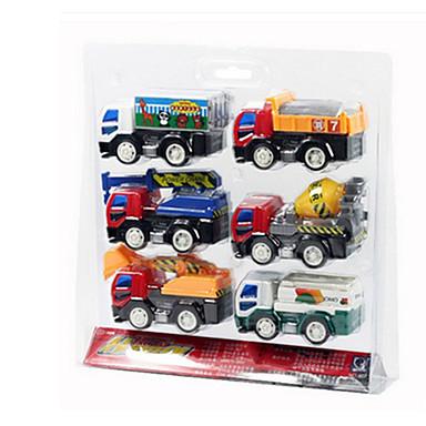 Rakennusajoneuvo Toy Trucks & Rakennusajoneuvot Leluautot 1:25 Taaksepäin vedettävät ajoneuvot Muovi ABS 6pcs Unisex Lasten Lelut Lahja