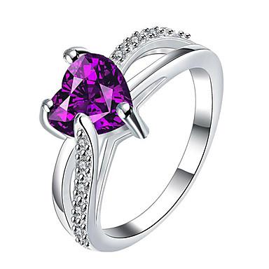 Kadın's Yüzük Nişan yüzüğü İfadeli Yüzükler Kübik Zirconia Kişiselleştirilmiş Euramerican Moda Som Gümüş Mücevher Yılbaşı Hediyeleri