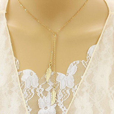 Per donna Diamante sintetico Collane Layered - A foglia Donne, Originale, Euramerican Oro, Argento Collana Gioielli Per Feste, Quotidiano, Casual