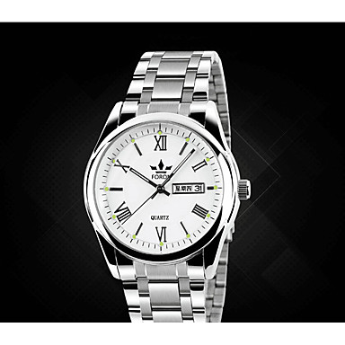 Erkek Moda Saat Quartz Alaşım Bant Gümüş