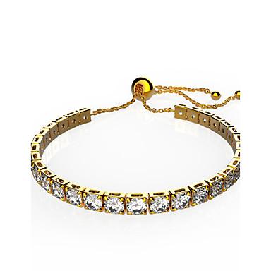 Damen Ketten- & Glieder-Armbänder Kristall Kubikzirkonia Modisch Krystall Kupfer vergoldet Kreisförmig Schmuck Weihnachts Geschenke