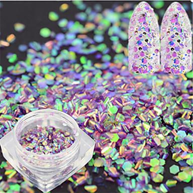 1 butelka moda słodki paznokieć brokat lekki fioletowy ryba skala wycinanka dekoracja laserowa paznokieć sztuka syrenka sześciokątny