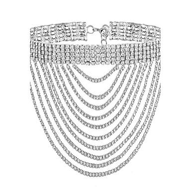billige Mode Halskæde-Dame Kan stables Kort halskæde Guldbelagt Simuleret diamant Damer Mode Guld Sølv Halskæder Smykker Til Fest Speciel Lejlighed Gave Daglig