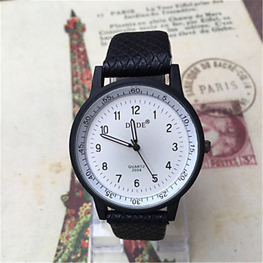 Heren Modieus horloge Kwarts Leer Band Zwart Wit Blauw Rood Bruin Kaki