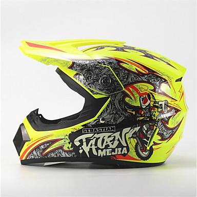 Mejia tout terrain moto casque de course brillant jaune - Casque moto course ...