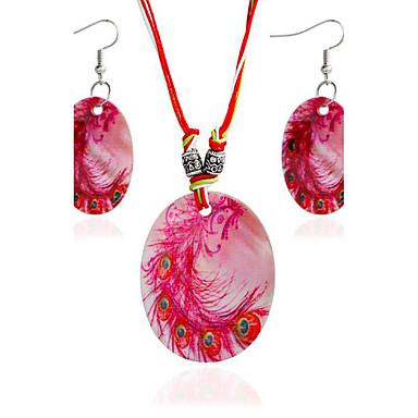 Pentru femei Set bijuterii 1 Colier 1 Pereche de Cercei - stil minimalist Rotund Roșu Închis Seturi de bijuterii de mireasă Pentru Cadou