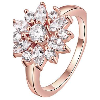 Naisten Tyylikkäät sormukset Sormus Kristalli Yksilöllinen Ylellisyys Muoti Euramerican Sterling-hopea Kristalli Ruusukulta-päällystetty
