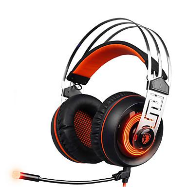 A7 فوق الأذن عقال سلكي Headphones ديناميكي بلاستيك الألعاب سماعة مع التحكم في مستوى الصوت مع ميكريفون عزل الضوضاء مضيء سماعة