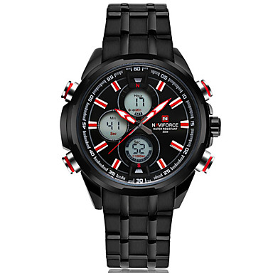 NAVIFORCE Herren Sportuhr Modeuhr Armbanduhr Armbanduhren für den Alltag Quartz Kalender Edelstahl Band Cool Bequem Luxuriös Silber